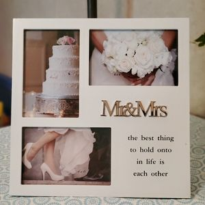 New MR&Mrs 3 picture white wood frame